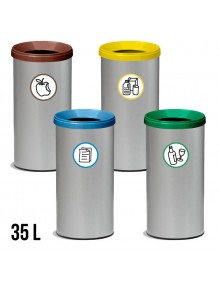 Wastepaper basket with protective ring and lid. 35 Liters - 67,5 x 26 cm.