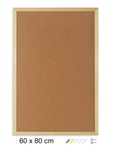 Cork board with wooden frame (80 x 60 cm)