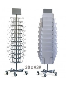 Turning metal display stand with 30 separators for Newspaper