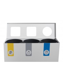 Recycling bin for 3 types of waste