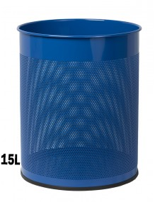 Wastepaper basket 15 Liters. Perforated metal wastebasket (blue)