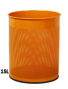 Wastepaper basket 15 Liters. Perforated metal wastebasket (orange)