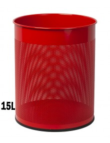 Wastepaper basket 15 Liters. Perforated metal wastebasket (Red)