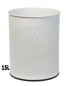 Wastepaper basket 15 Liters. Perforated metal wastebasket (white)