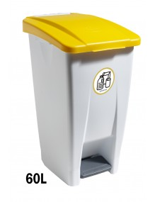 Container with pedal - 60 Liters (Recycling adhesive - White)