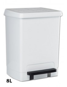 Garbage container with pedal 8 Liters (white)