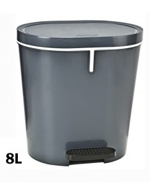 Garbage container with pedal and interior bucket 8 Liters