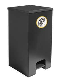 Industrial metal container with pedal 60l. - Black