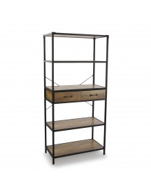 Shelf with 4 shelves and 2 drawers