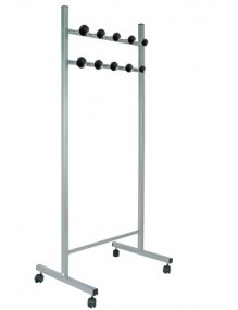 MOVEABLE COAT RACK with black ABS hooks. Silver painted