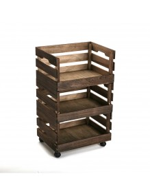 """Auxiliary kitchen trolley in natural wood, model """"Dark Wood"""""""